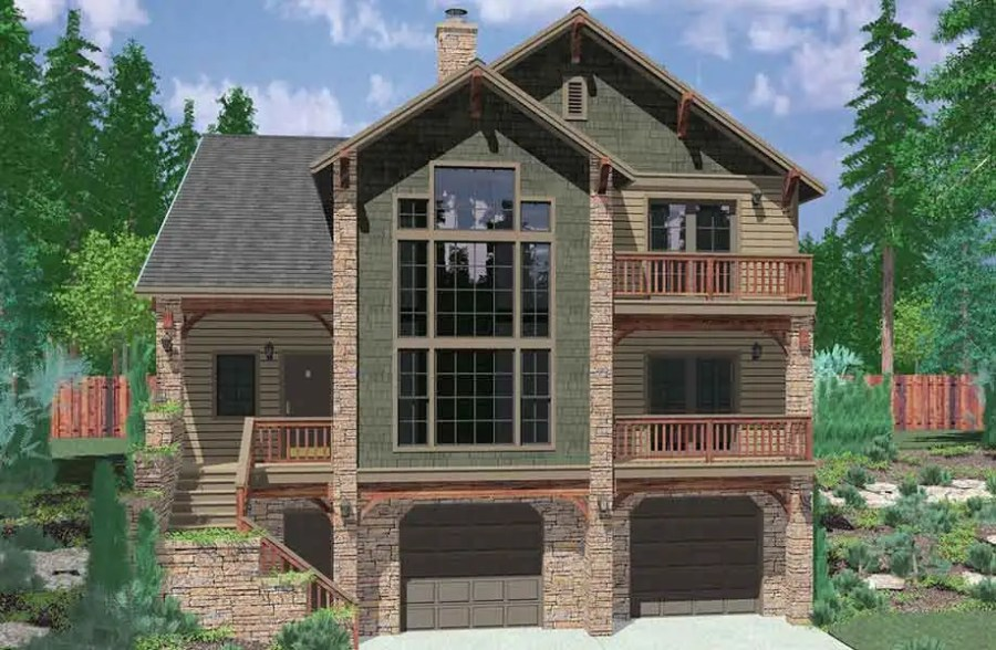 Sloping Lot House Plans  Hillside House Plans  Daylight Basements 10064 Luxury house plans  Portland house plans  40 x 40 floor plans  4