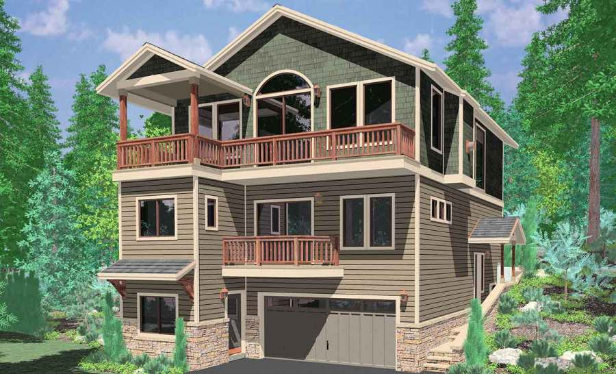 Narrow Lot House Plans  Building Small Houses for Small Lots 10141 House plans  house plans for sloping lots  3 level house plans  three