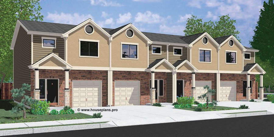 Fourplex House Plans  3 Bedroom Fourplex Plans  2 Story Fourplex Fourplex house plans  3 bedroom fourplex plans  2 story fourplex plans   fourplex house plans with garage  brick fourplex plans  F 570
