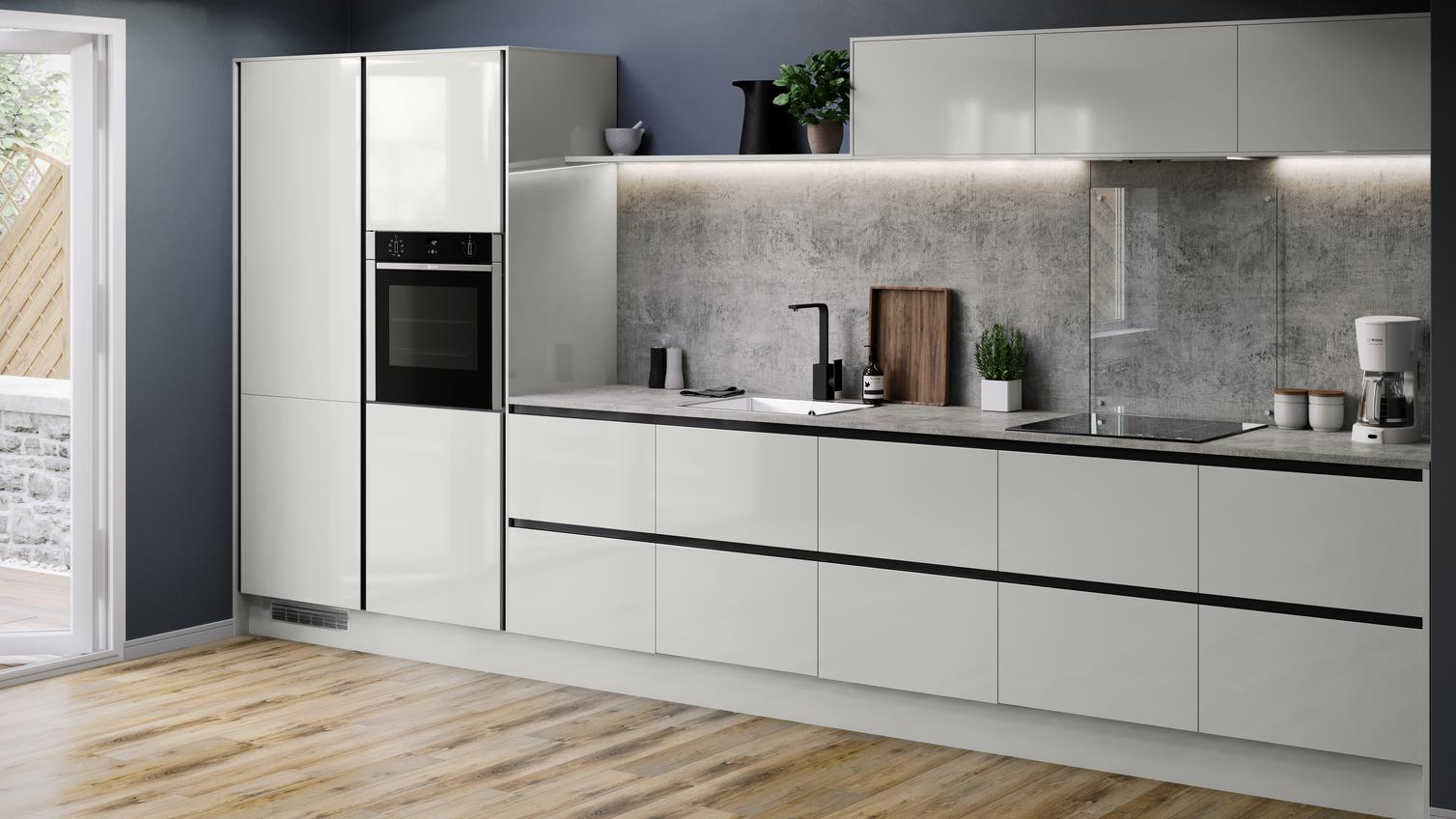 Balham Gloss Dove Grey Kitchen Fitted Kitchens Howdens