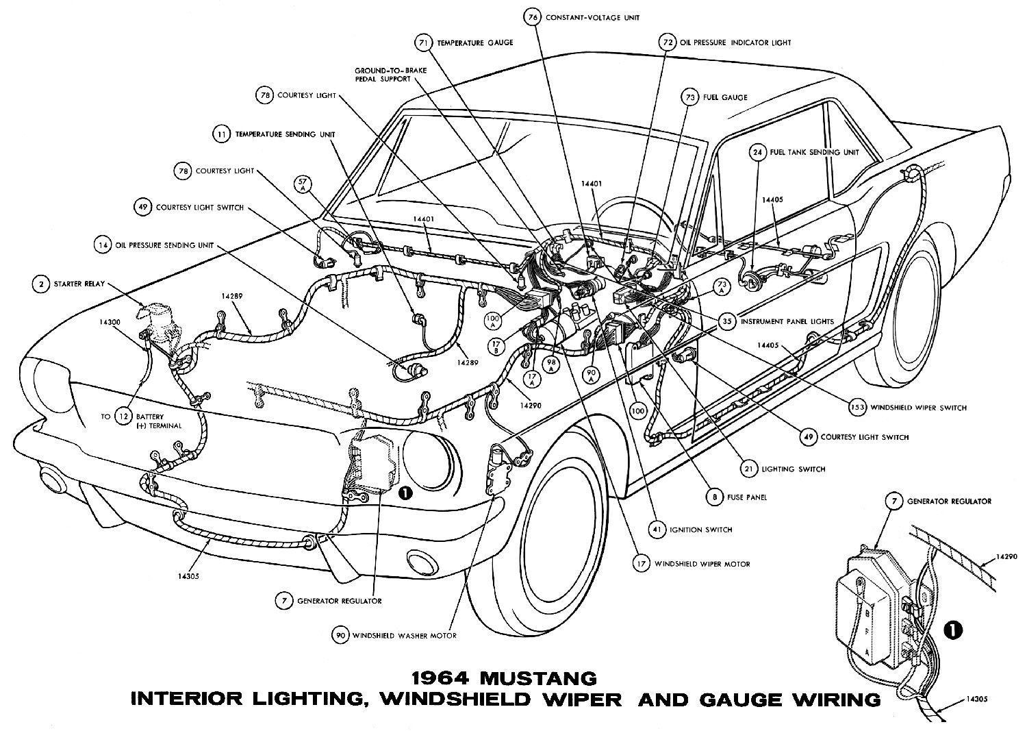 1964½ mustang interior lightning winshield wiper and gauge wiring