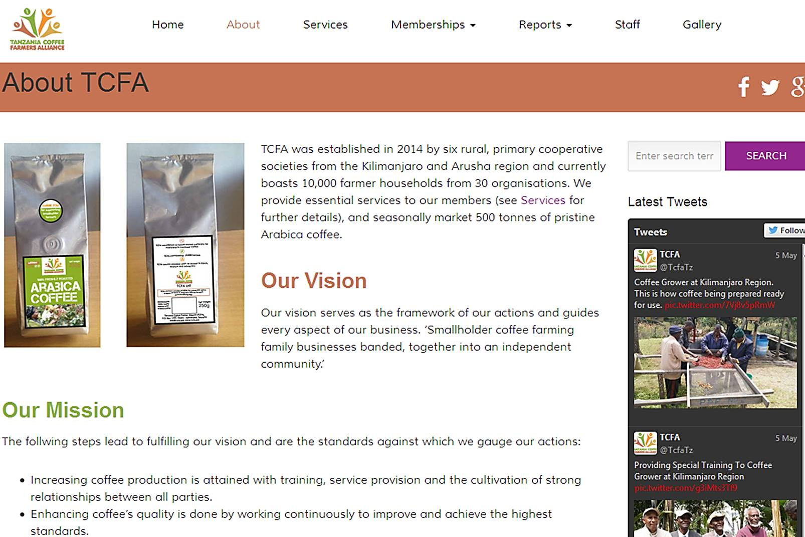 TCFA website page our vision text