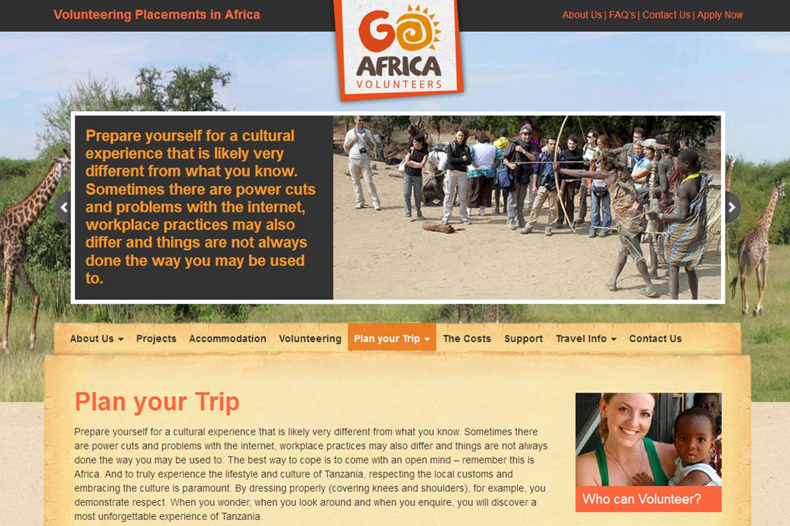 go africa website text page woman holding child