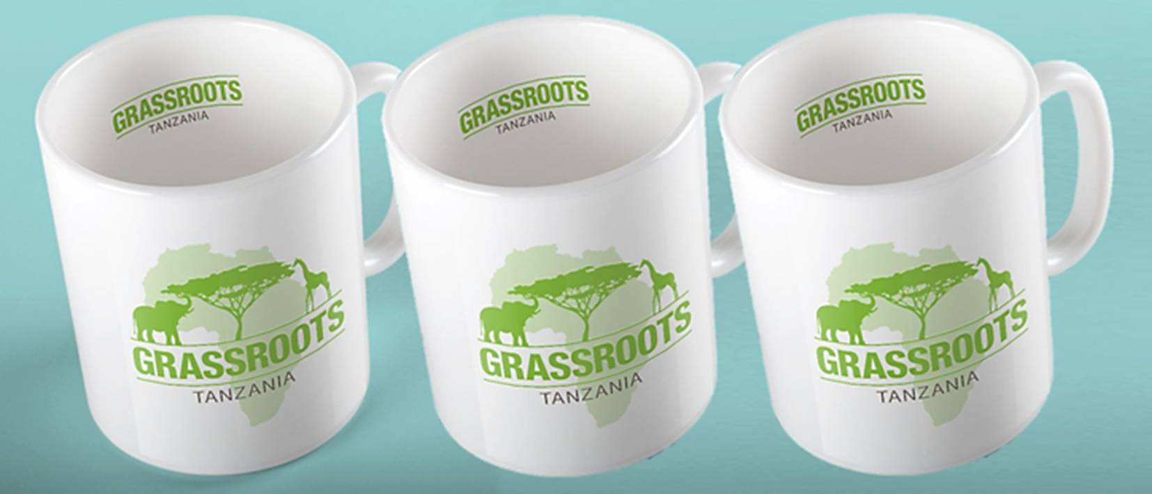 row of white mugs with grassroots logo