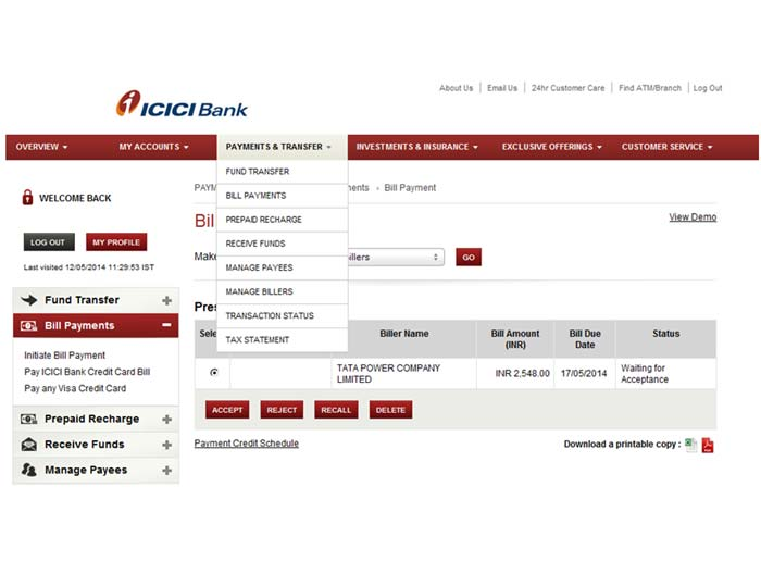 Make Icici Credit Card Payment