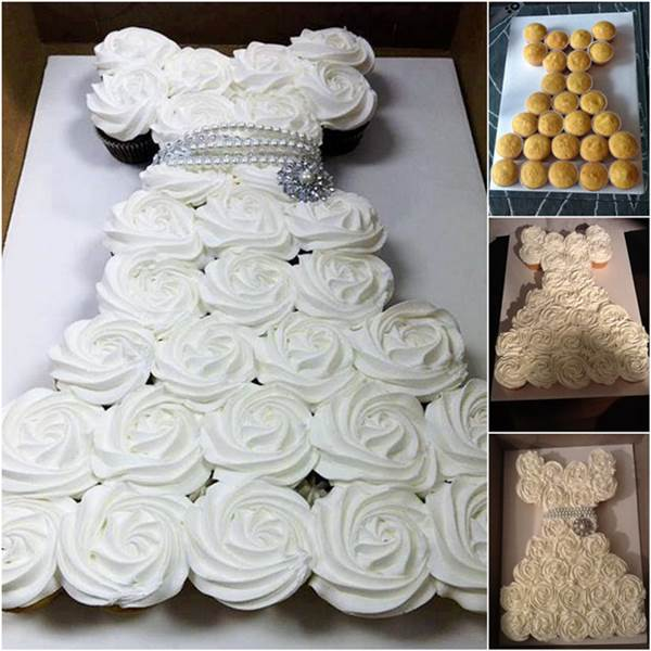 How to Make DIY Wedding Dress Cupcake Cake