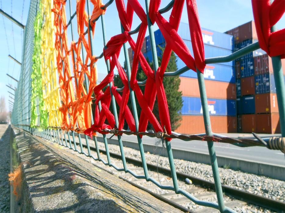 Creative Street Art Cross Stitch Murals On Fences