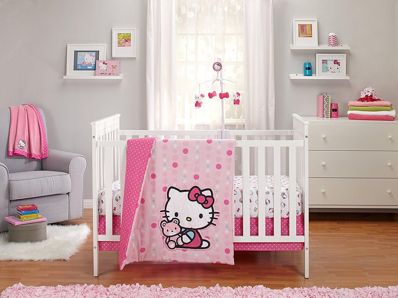 Hello Kitty Cute As Button 3 Piece Crib Bedding Set