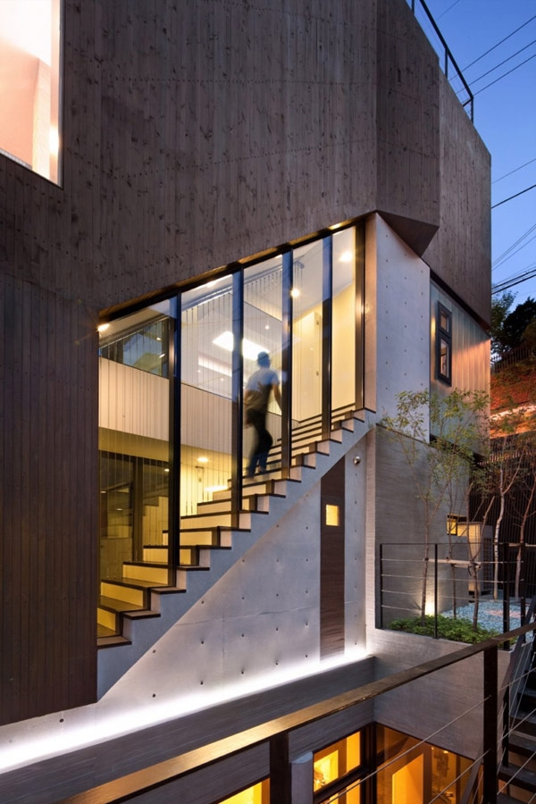 Grey Contemporary Exterior Design From A Three Story House In | Staircase Exterior Wall Design | Commercial | Entrance Ceiling | Interior | Modern | Boundary Wall