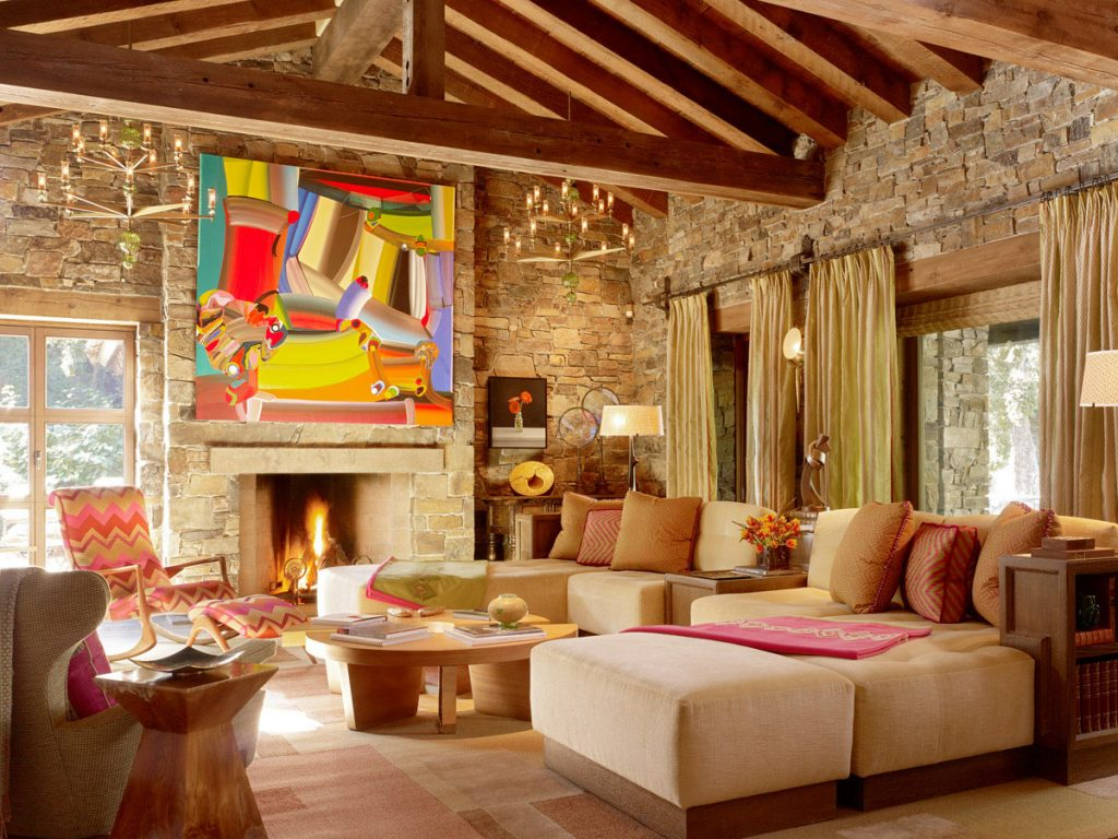 Awesomely Cool Interior Design Ideas and Inspirations   Ideas 4 Homes Rustic Living Room using Cool Interior Design Ideas with Colorful Abstract  Painting and Stone Fireplace