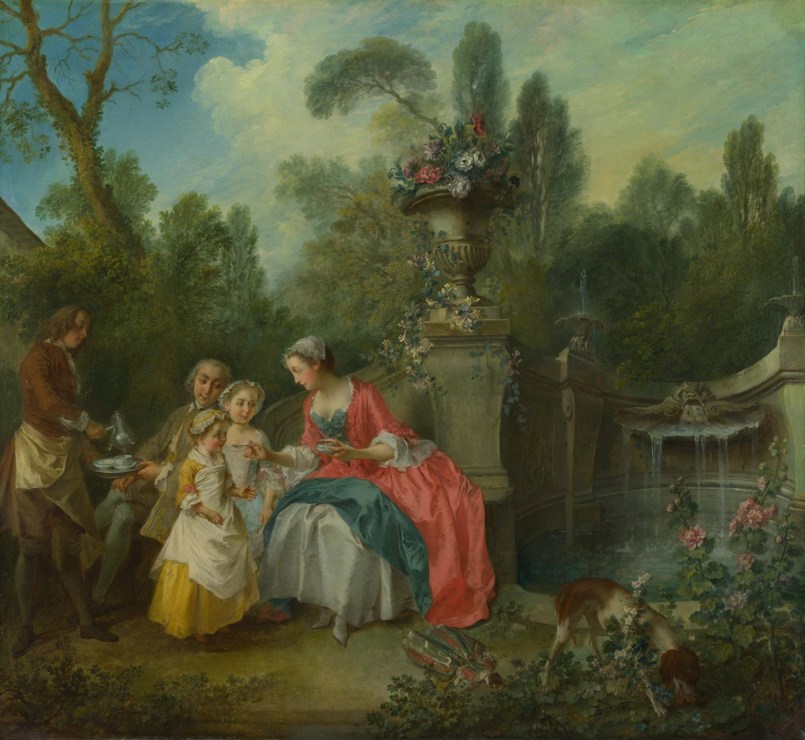 Rococo Art Movement A Lady in a Garden taking Coffee with some Children by Nicolas Lancret