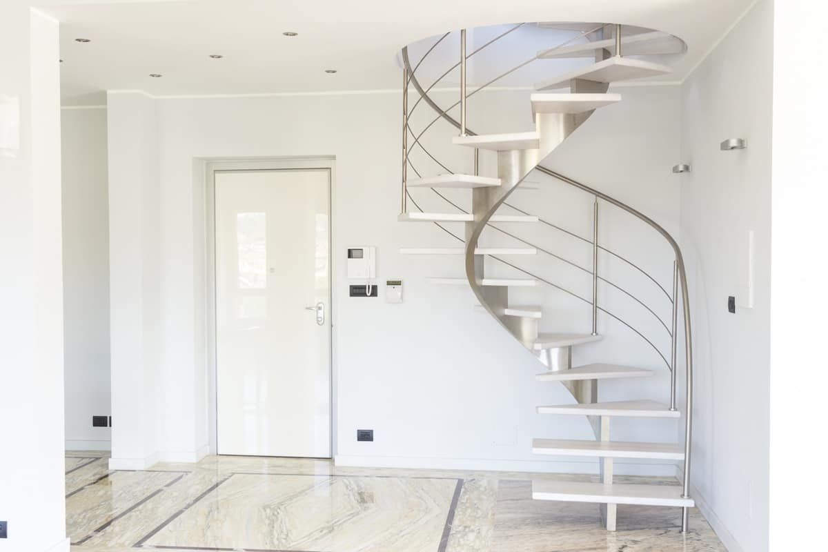 Spiral Staircase With Treads In Bleached Oak Idfdesign | Self Supporting Spiral Staircase | Stairway | Concrete | Supporting Structure | Santa Fe | London Uk