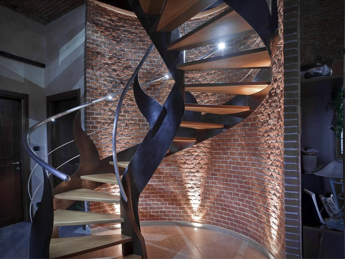 Helicoidal Staircase With Lighted Handrail Idfdesign   Lighted Handrails For Stairs   Wrought Iron Railing   Minimal   Antique   Basement   Stair Banister