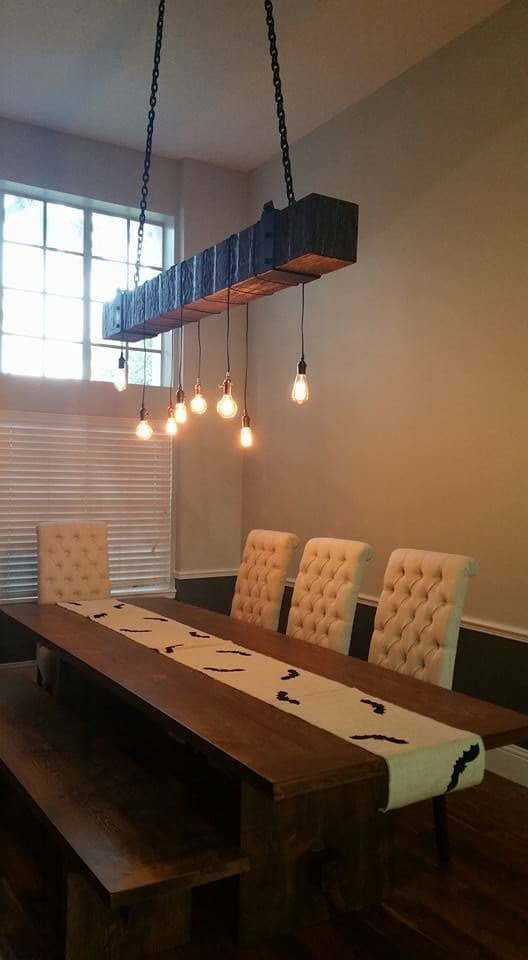 Rustic Industrial Wood Beam Chandelier Id Lights