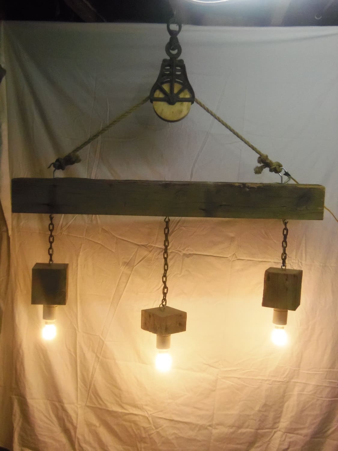 Beam Wood Light Fixture And Pulley Pendant Light Id Lights