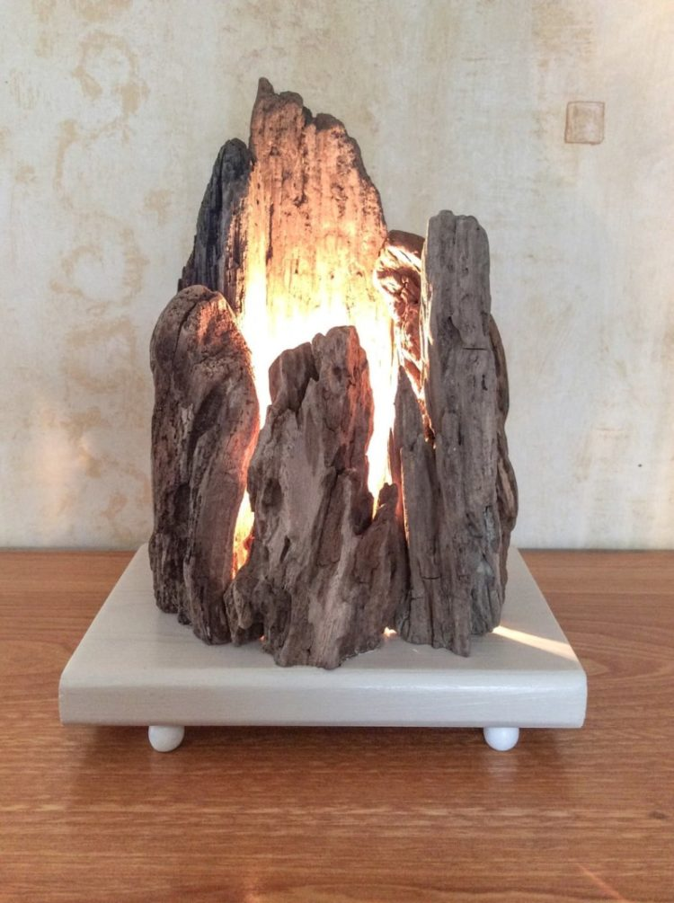 Floating Wooden Lamp With Rock Shape Id Lights