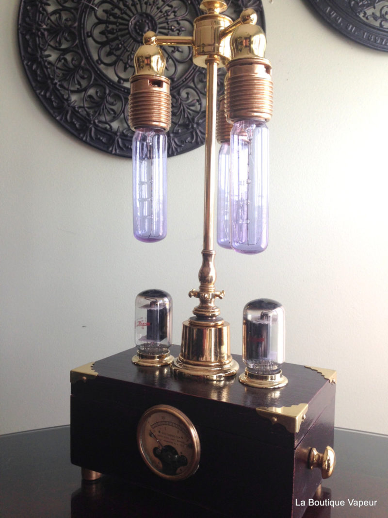 Steampunk Lamp With Dimmer And Amperes Meter Id Lights