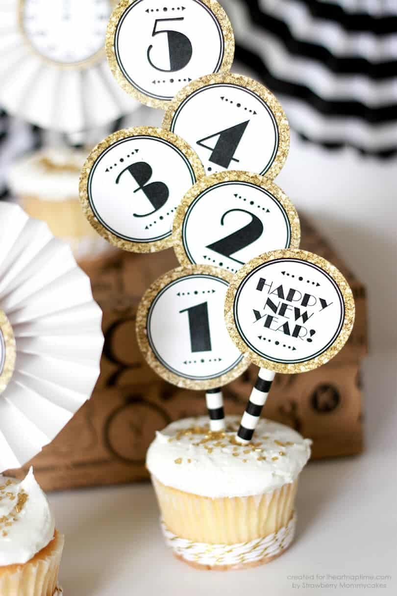 Black And Gold New Year Cupcake Toppers I Heart Nap Time