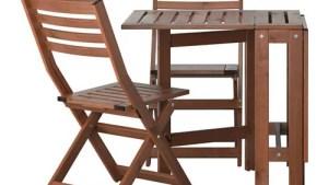 PPLAR Bistro Set, Outdoor Pplar Brown Stained IKEA