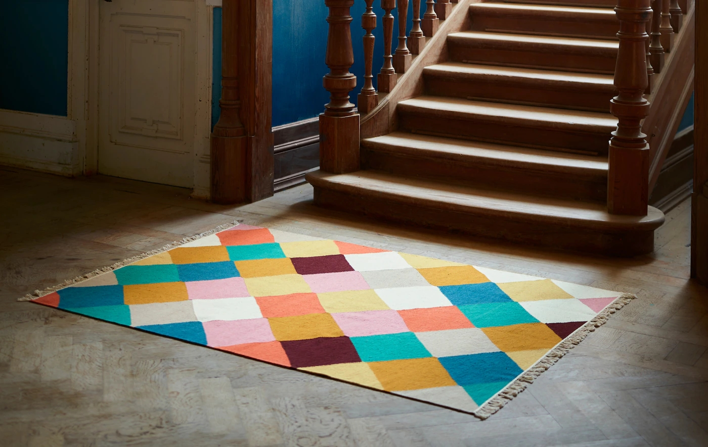The Makings Of A Rug With A Special Story Ikea | Multi Coloured Stair Carpet | American Style | Candy Stripe | Interior Design | Textured | Residence