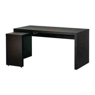 MALM Desk with pull out panel   black brown   IKEA MALM Desk with pull out panel