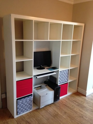 Expedit Shelving   Computer Desk Hack   IKEA Hackers Expedit Shelving   Computer Desk Hack