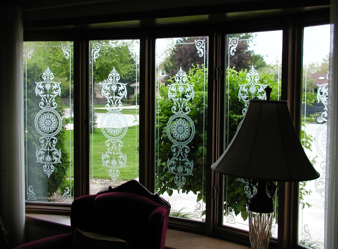 Etched Glass Chicago Il 815 922 0959 Illumination Art   Staircase Window Glass Design   Geometric   Architecture   Flower   Residential   Glass Brick