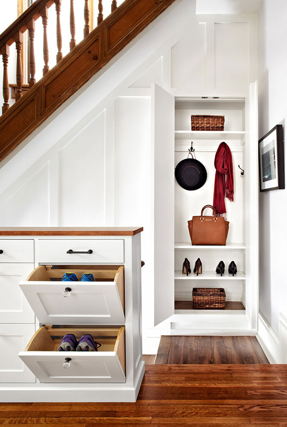 Under Stairs Storage To Maximize The Space From Your House | Cabinet Design Under Stairs | Tv Stand | Stairs Storage Ideas | Kitchen | Shelves | Staircase Ideas
