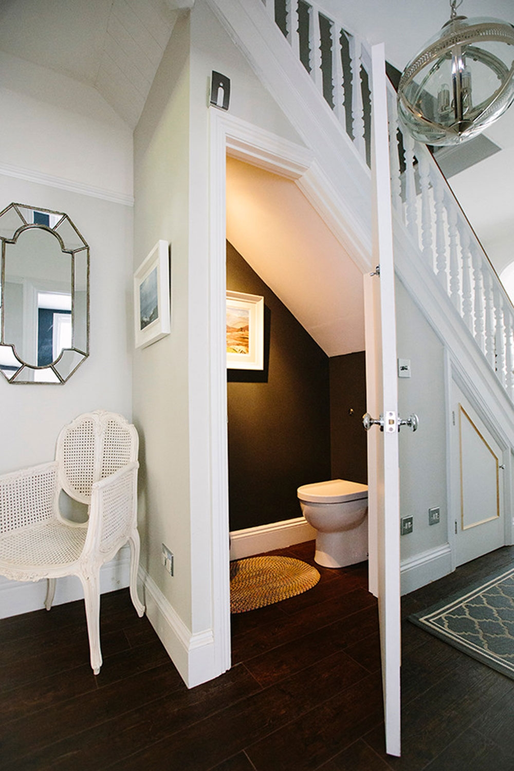 Bathroom Under Stairs And Tips And Best Practices For This Space   Under Stair Toilet Design   Toilet Separate   Small   Powder Room   Down   Minimalist