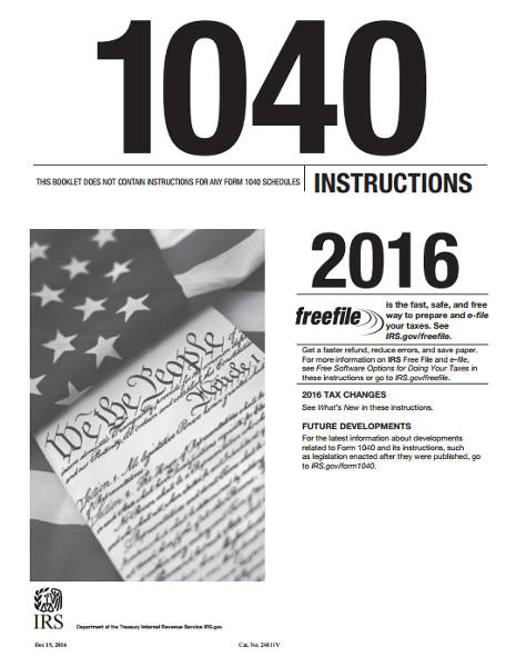 1040ez Tax Booklet For 2016