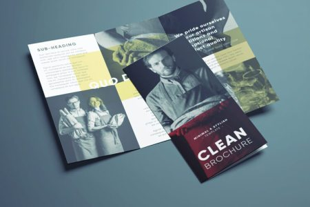 Amazing Clean Trifold Brochure Template   Free Download     Stylish Clean Brochure Template   Free Download   Clean Layout with  Hipster Photography and Simple Typography Download this tri fold