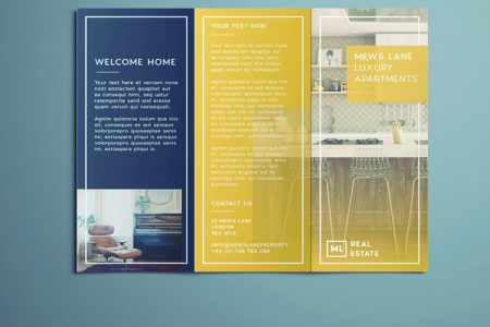 Tri Fold Brochure   Free InDesign Template Real estate flyer free InDesign template   outside view of tri fold real  estate flyer