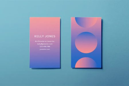 Graphic Designer Business Card Template   Free Download Free modern business card template   minimal modern gradient design for  InDesign free download   pink