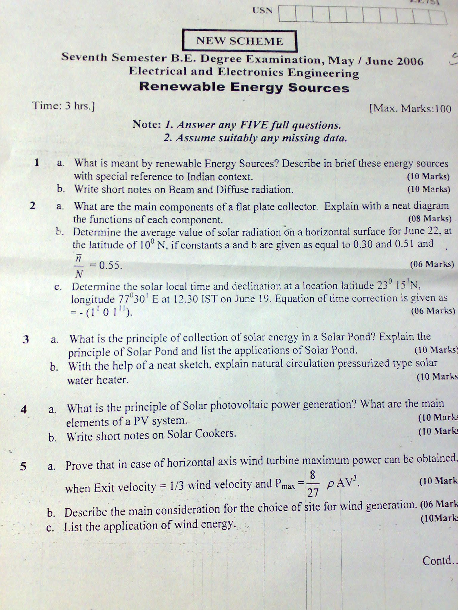 Question Papers Renewable Jntuh Energy Previous Sources