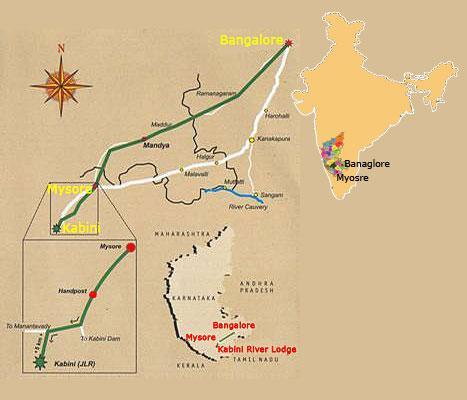 Lcation Map Of Kabini River Lodge
