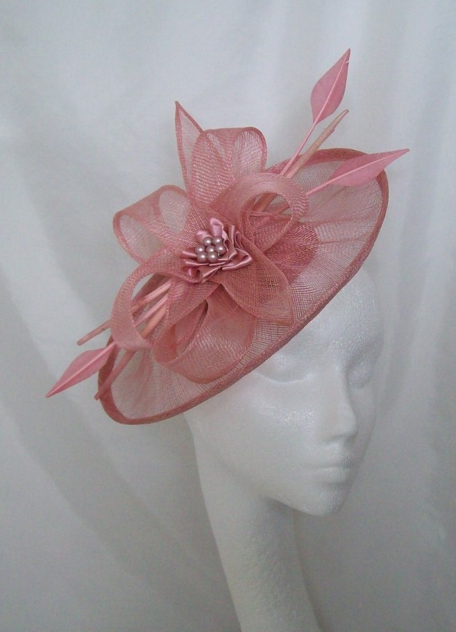 Dusky Pink Sinamay Saucer Amp Loop Arrow Feather And Pearl Lavinia Fascinator Hat Pink Out