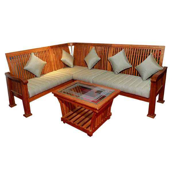 Teak Wood Sofa With Teapoy   Indograce  Buy Building Construction     Teak Wood Sofa With Teapoy