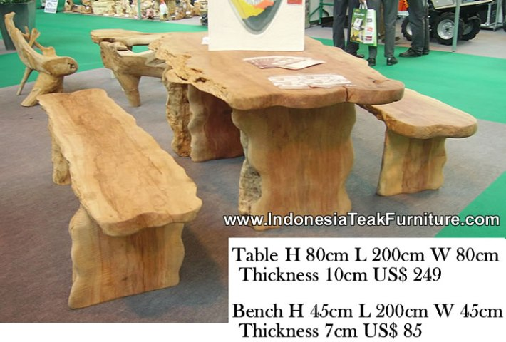 WOOD DINING TABLE FURNITURE INDONESIA OUTDOOR PATIO GARDEN TABLE Natural curve wood table and bench sets  Outdoor dining table furniture  from Indonesia