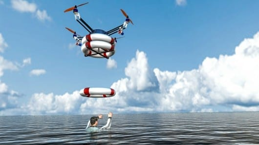 Pars aerial robot delivers a payload of life preservers to drowning victims