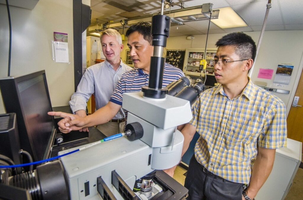 Sandia National Laboratories researcher Hongyou Fan, center, points out a nanoscience result to Sandia paper co-authors Paul Clem, left, and Binsong Li. (Photo by Randy Montoya)