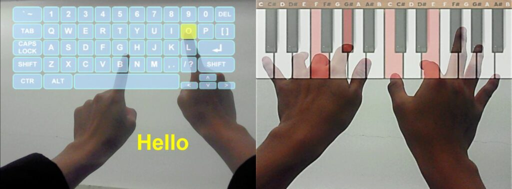 IMAGE: K-GLASS 3 CAN DETECT HANDS AND RECOGNIZE THEIR MOVEMENTS TO PROVIDE USERS WITH SUCH AUGMENTED REALITY APPLICATIONS AS A VIRTUAL TEXT OR PIANO KEYBOARD. view more CREDIT: KAIST