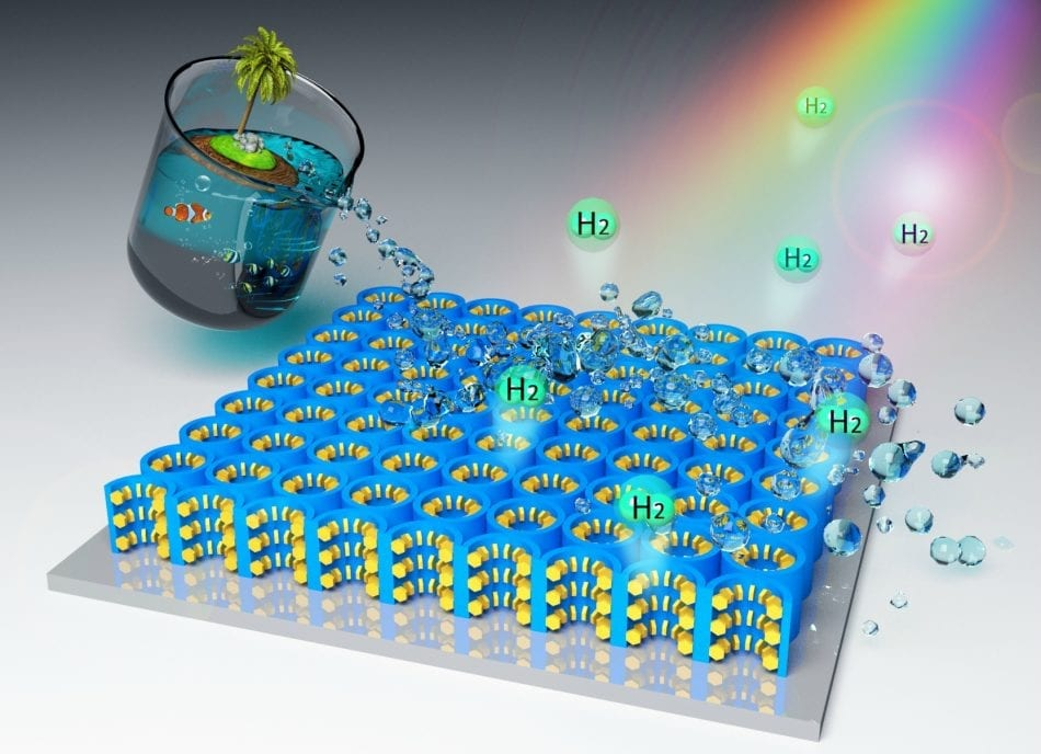 A new hybrid nanomaterial that harnesses solar energy to generate hydrogen from seawater