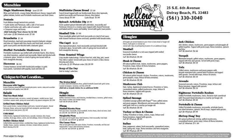 Printable Mellow Mushroom Menu