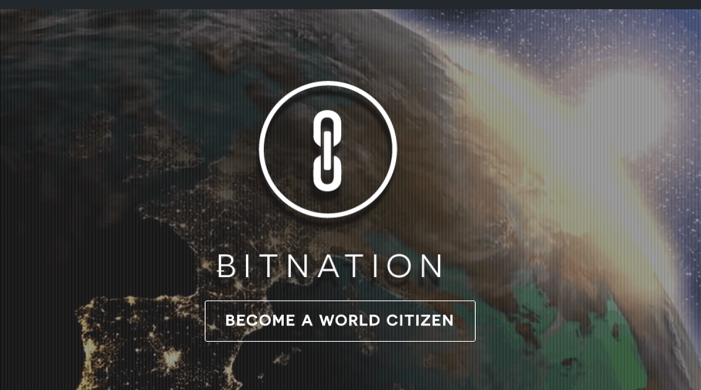 Screenshot of website Bitnation