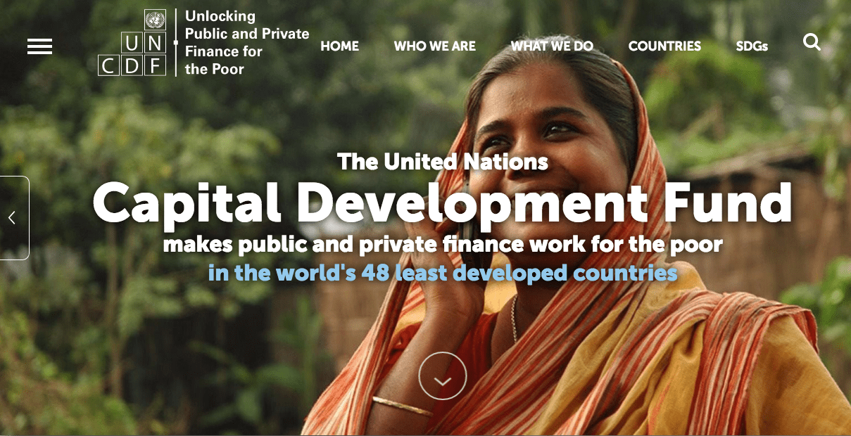 Screenshot of website of United Nation Capital Development Fund