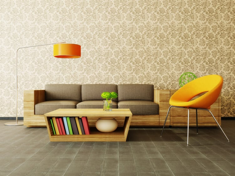 45 Colorful Living Rooms  Pictures  Cover an entire wall in an ornately patterned wallpaper to add movement to  your living room  This gold tone on tone damask works brilliantly well with  all