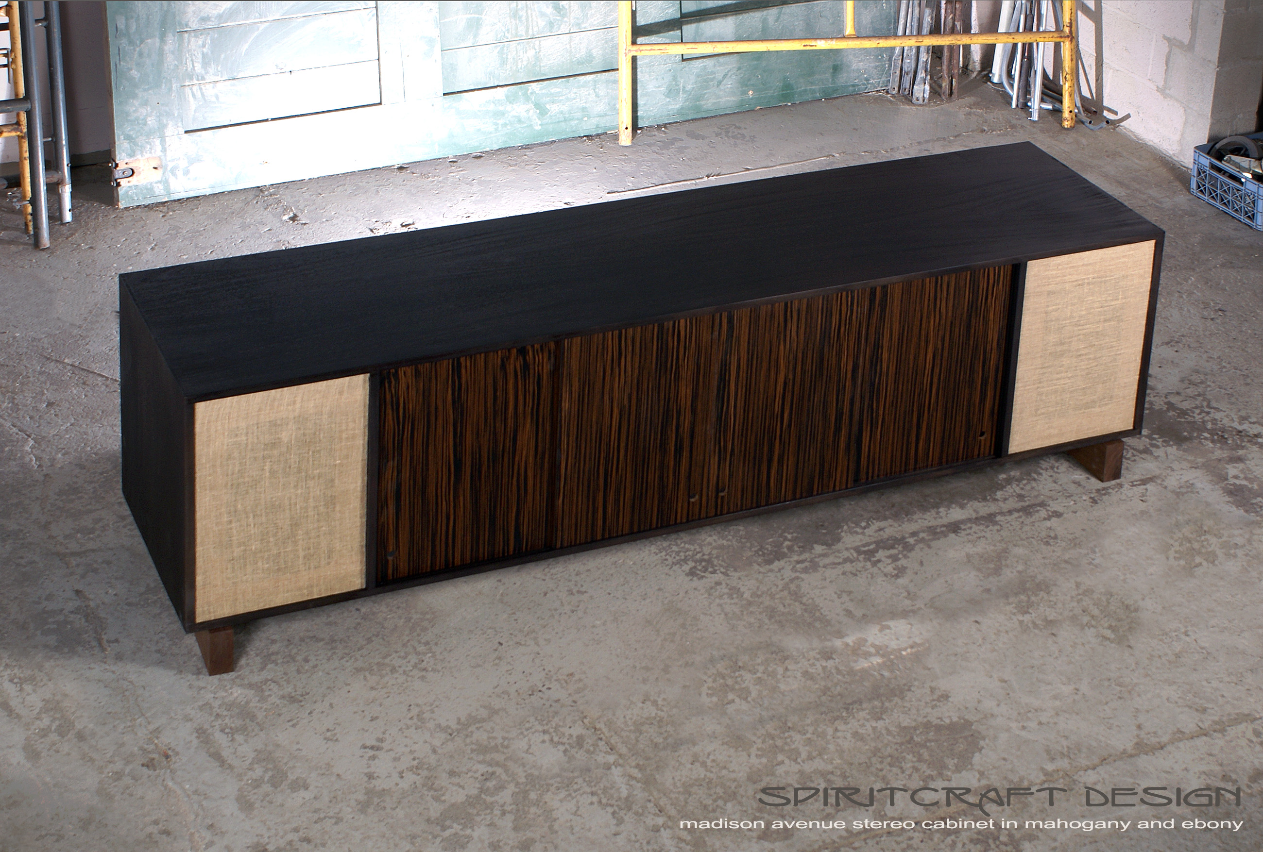 Transformational wall units in mid century style as design statements Interior Design Accents   Mid Century style media console   sideboard for  Chicago client by