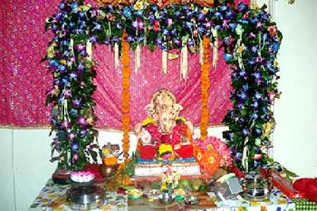 How to decorate home for Ganesh Chaturthi     Interior Designing Ideas     decorate home for Ganesh Chaturathi  Add fresh flowers