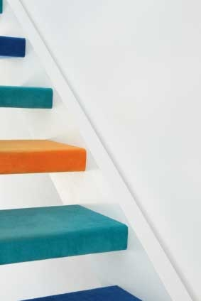 Open Riser Color Stair Treads With Colorful Staircase Design Ideas | Modern Stair Treads And Risers | Hardwood | Non Slip | Riser Short Stringer | Cap | Luxury Vinyl Stair