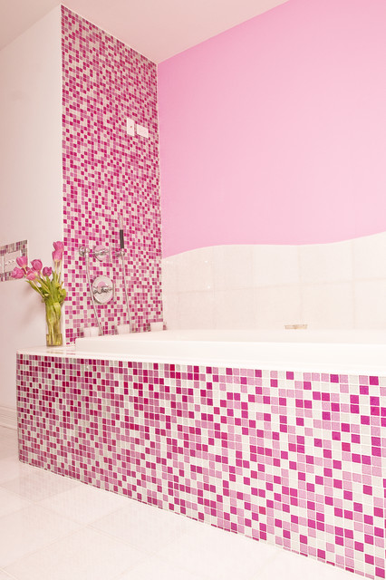 Sparkly Pink Mosaic Bath Interiors By Color